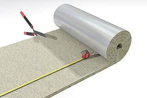 Installation of fire insulation of rectangular ducts. Cutting of wired mat with scissors.